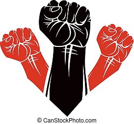 Raised clenched fists vector illustration. People demonstration, fighting for their rights and freedom.