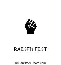Raised fist flat vector icon. Hand drawn style design illustrations.