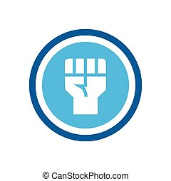 Raised fist hand icon, independence or revolution symbol - Vector