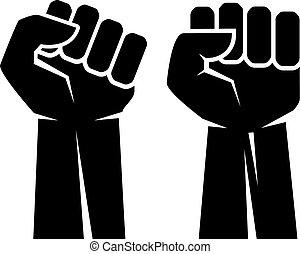 Raised fist hand vector icons set
