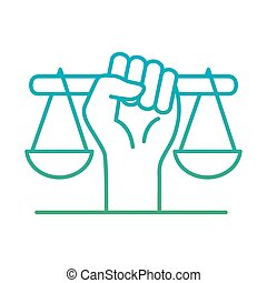 raised fist hand with scale degraded style icon vector design