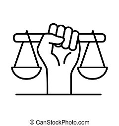 raised fist hand with scale line style icon vector design