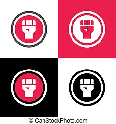 Raised fist icon design, revolution or protest symbol