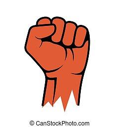 Raised Fist Icon. Hand Protest Strike Fight. Vector illustration