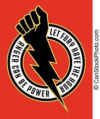 Raised fist lightning bolt anger protest badge.