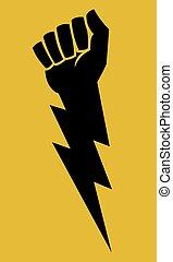 Raised fist lightning bolt protest icon.