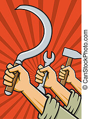 Vector Illustration of raised fists holding tools in the style of Russian Constructivist propaganda posters.