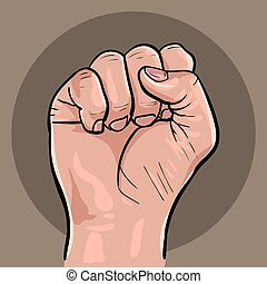 Raised hand with clenched fist.