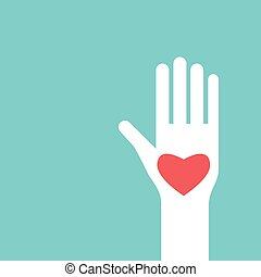 Raised hand with heart