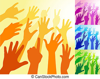 A collection of hands and raised arms shapes