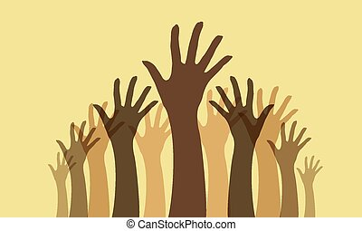 Raised hands - a collection of raised hand silhouettes with...