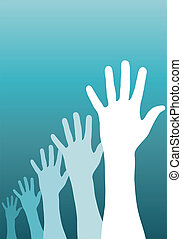A group of raised hands. Vector avaliable