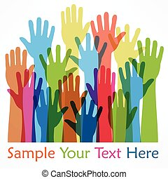 Raised hands color, on white, vector illustration