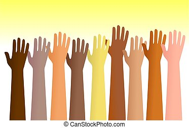 raised hands - Group of diverse hands raised in the air. ...