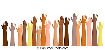 Group of diverse hands raised in the air. This is a conceptual illustration that can show people volunteering for a service or praising God etc.