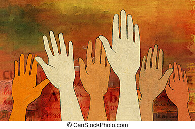 Raised hands - Group of raised hands over a colorful and...