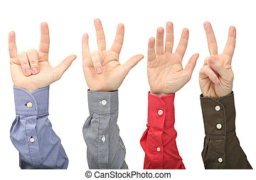 Showing the signs of the fingers to express emotions. Sign language hands