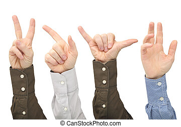 Raised hands of different men on white background