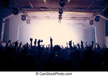 Raised hands on the concert in an old venue