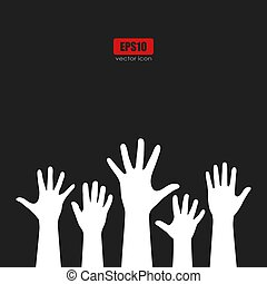 Raised hands vector poster