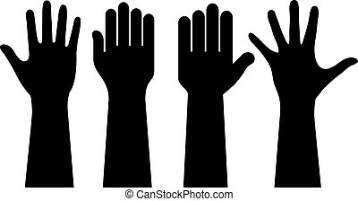 Raised human hands