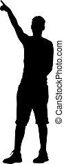 raised., ilustración, siluetas, vector, negro, brazo, hombre