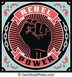 Raised protest human fist