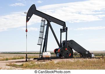 Raised pump jack in Colorado, USA