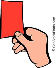 Raised red card icon, icon cartoon