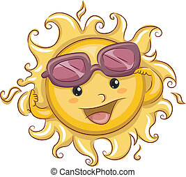 Raised Shades - Illustration of the Sun with its Shades...