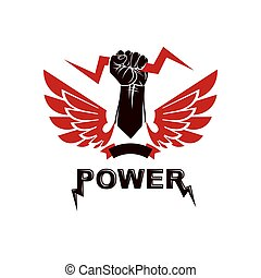 Raised strong clenched fist composed with lightning, winged logo. Boxing club abstract emblem can be used as tattoo.