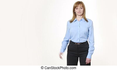 raised thumb. girl in pants and blous.  Isolated on white background. body language. women gestures. nonverbal cues
