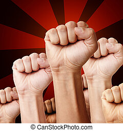 Designed illustration - raised up clenched fists of different ethnicity's men over red background