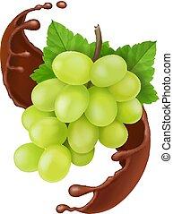 raisin, éclaboussure, illustration, chocolat, vecteur, 3d