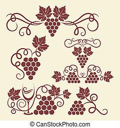 raisin, éléments, vigne