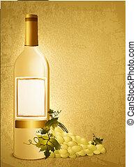 raisin blanc, bouteille, vin