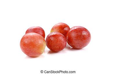 raisin blanc, isolé, rouges