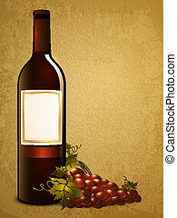 raisin, bouteille rouge, vin