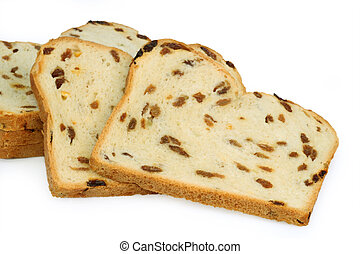 Raisin bread isolated on white background