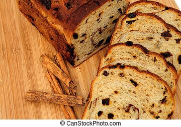 Raisin Cinnamon Bread - Slices of raisin cinnamon bread with...
