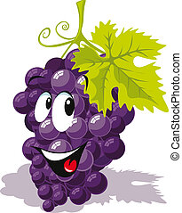 raisin, dessin animé, vin