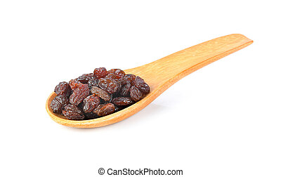 raisin in wood spoon isolated on white background