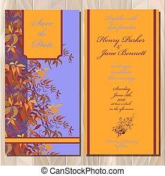 raisin, invitation, card., sauvage, printable, illustration, mariage, vecteur, automne