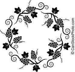 raisin, modèle, vigne, décoration, vecteur, noir, blanc