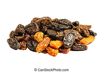 Raisin on white background