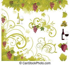 raisin, ornement, vin