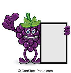 raisin, pose, bannière, pouce haut