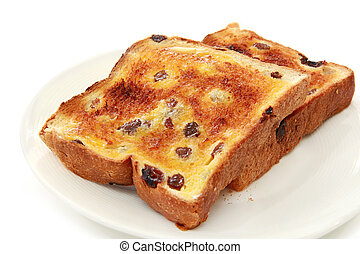 Thick-cut raisin bread, with melting butter.