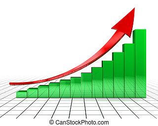raising charts - 3d illustration of raising charts and...