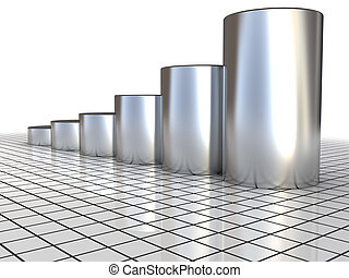 raising charts - 3d illustration of steel raising charts...